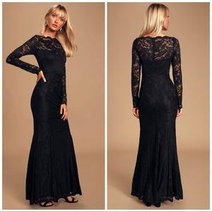 LuLus Farida Black Lace Long Sleeve Maxi Dress